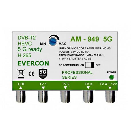 HEVC ant zesilovač pro 4 TV Evercon AM-949
