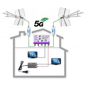 5G READY profesionální komplet pro 2 TV KOM-424-101-2-BSG