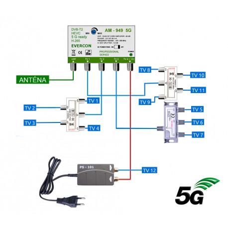 5G READY anténní set EVERCON 949-101-12 pro 12 TV