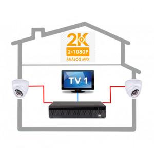 AHD kamerový set Evercon XVR 2.0 se 2 kamerami 2 MPix