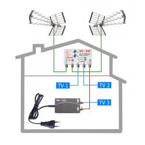 HEVC anténní komplet pro 3 TV TESLA 838-101-3